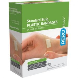 ADHESIVE DRESSING STRIPS PLASTIC - PACK 50 - 72MM X 19MM