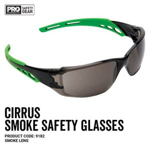 prochoice CIRRUS GREEN ARMS SAFETY GLAsSES SMOKE LENS