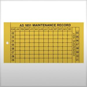 firebox plastic maintenance record tag