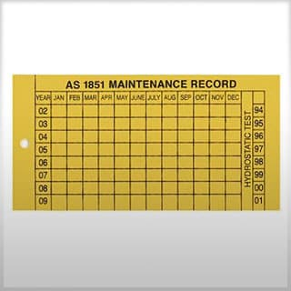 Maintenance record tags to AS1851.5 (plastic)