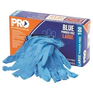 PROCHOICE DISPOSABLE BLUE NITRILE POWDER FREE GLOVES