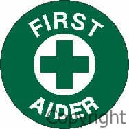 FIRST AIDER HARD HAT LABEL